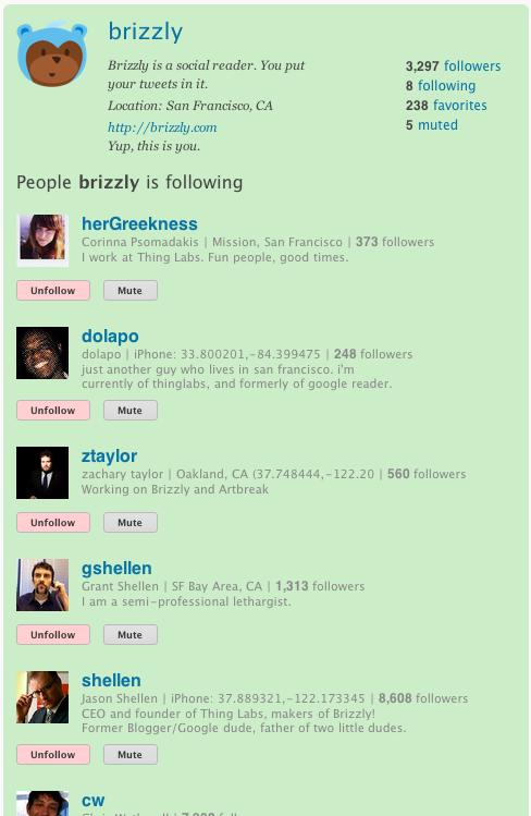 'Following' list
