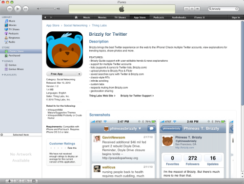 Brizzly in the iTunes Store
